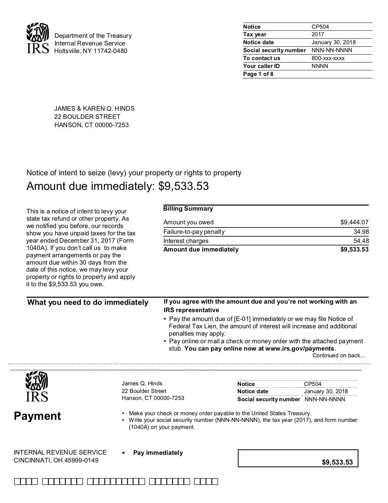 IRS Notice CP504B